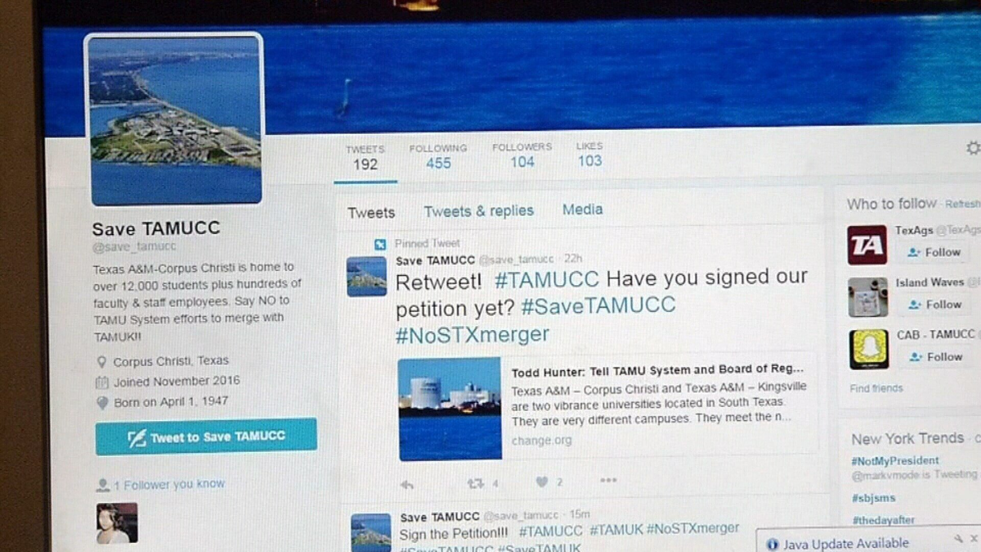 Save TAMUCC Twitter followers share concerns about merger prop