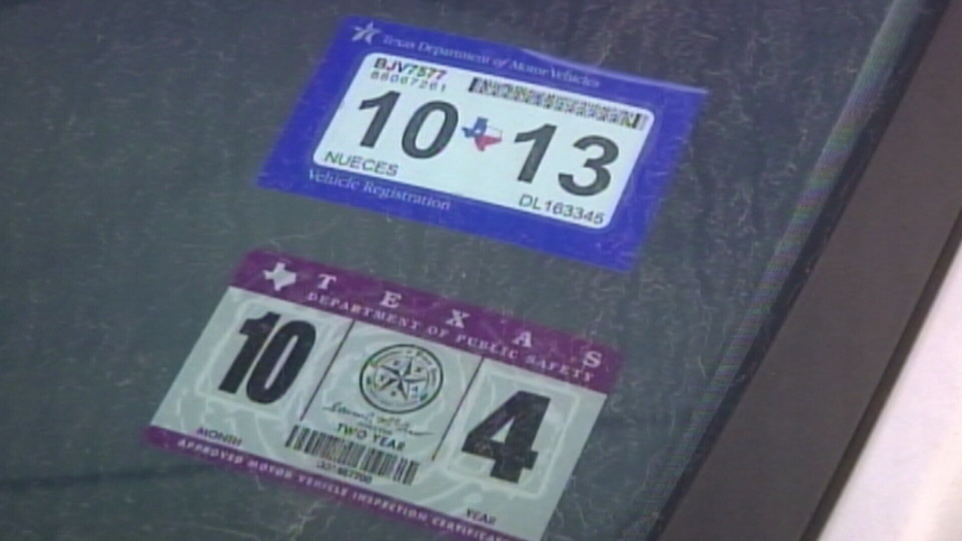 Texas vehicle registration and inspection stickers in effect